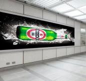 Blank billboard in the city building